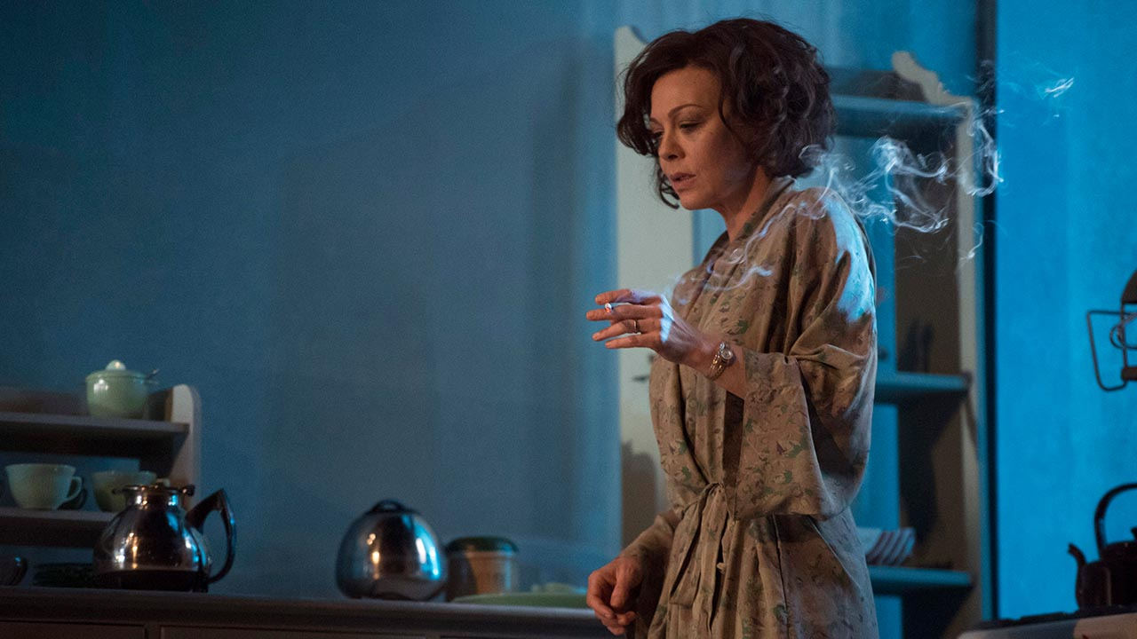 Helen McCrory as Hester Collyer smoking in The Deep Blue Sea National Theatre