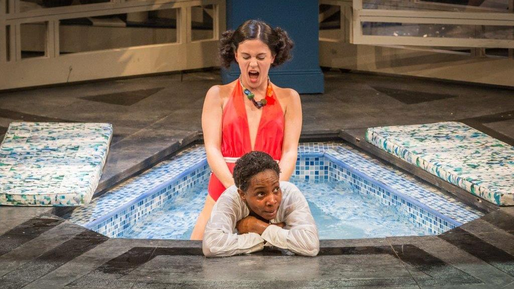 Twelfth Night production photo Phoebe Fox and Tamara Lawrence in a swimming pool