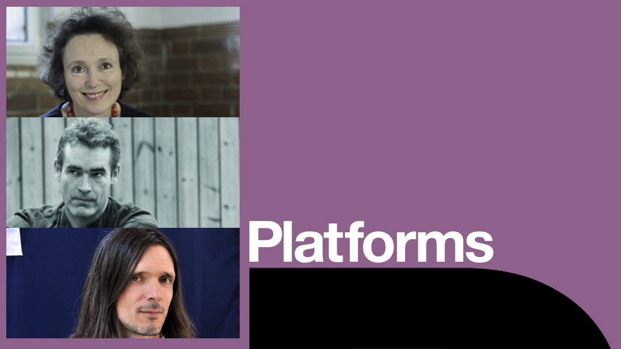 We are here platform poster with Jenny Waldman, Rufus Norris and Jeremy Deller